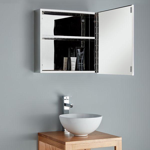 500mm Square Family Bathroom Cabinet, Black Mirrored Bathroom Cabinet