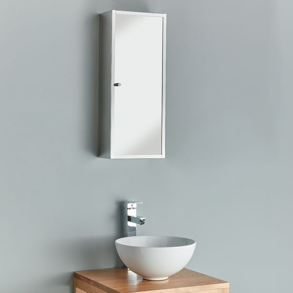 Slim Bathroom Mirror Cabinet 250mm Palma, Large Glass Bathroom Cabinets
