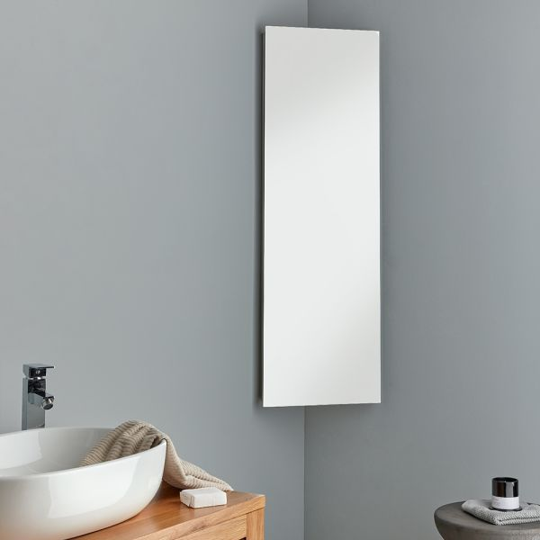 Extra Tall Reims Single Door Corner Mirror Cabinet 1200 X 380