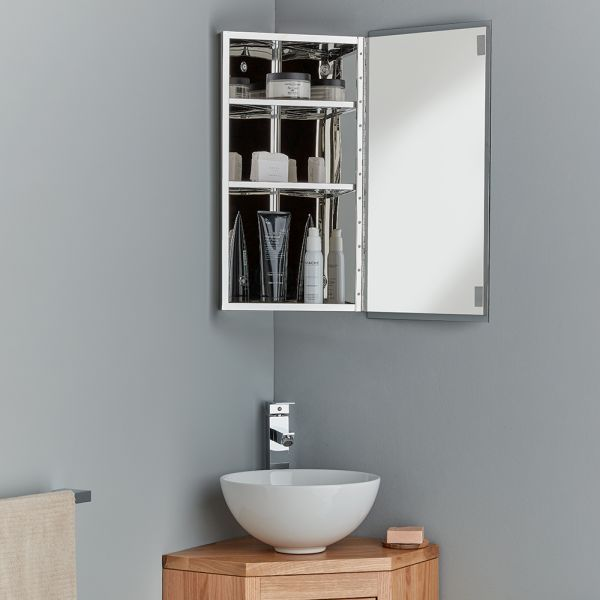 Corner Bathroom Cabinet 300mm With Internal Mirror Reims