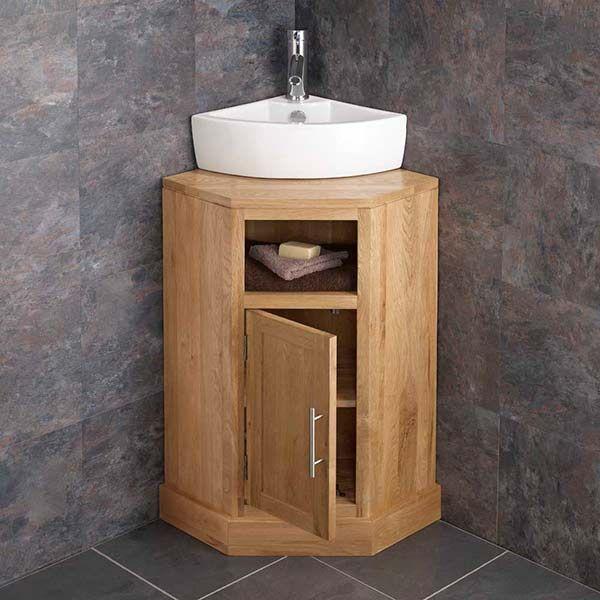 Freestanding Oak Corner Bathroom Cabinet White Basin Set