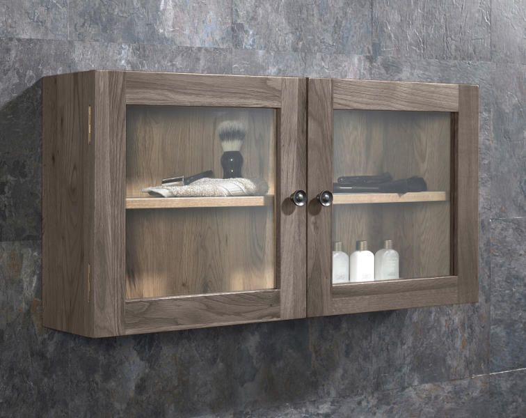 Solid Oak Glass 750mm Bathroom, Large Wall Storage Units With Doors