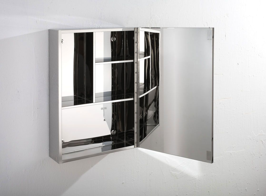 Illumine Dual Stainless Steel Medicine Cabinet With Lighted Mirror: Almeria Single Door 400mm Wide X 600mm Tall Mirror
