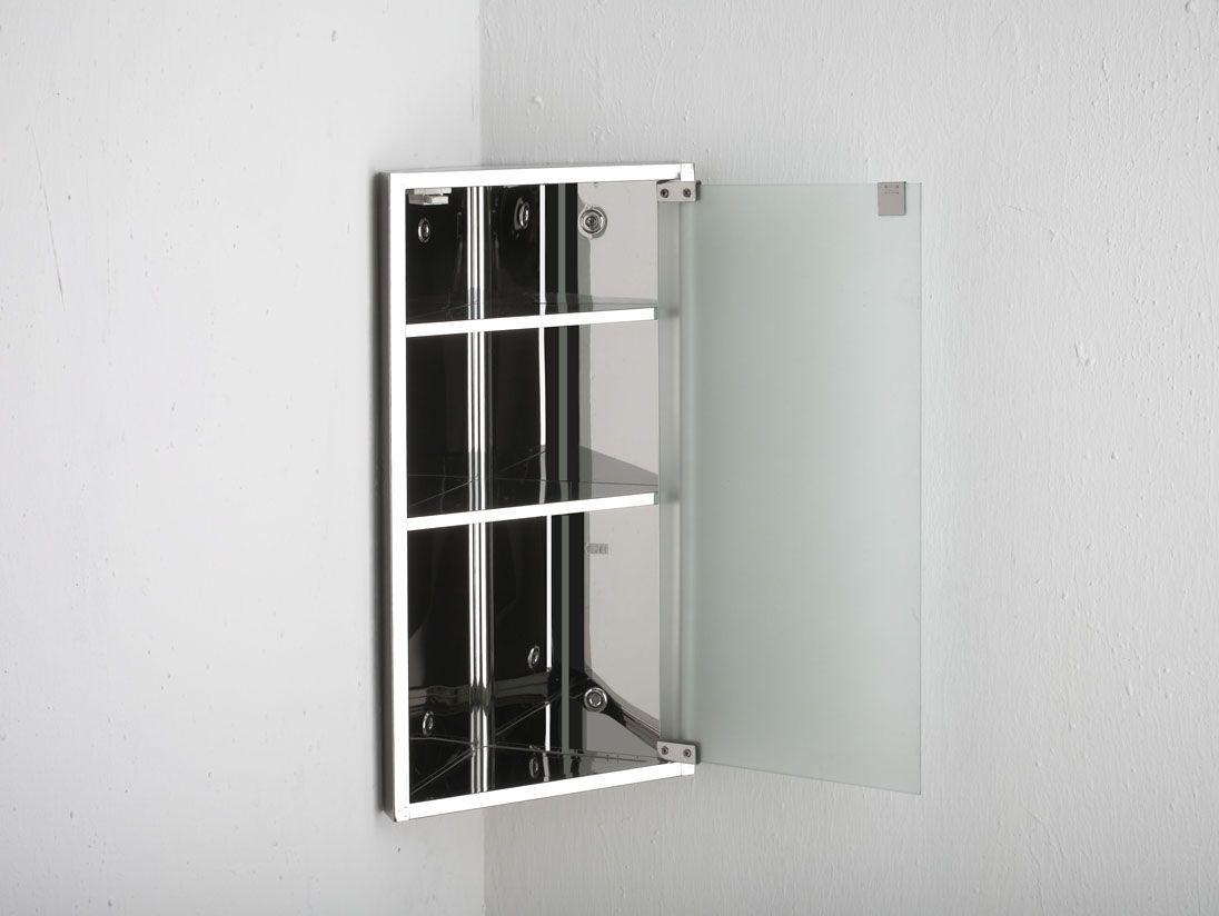 Stainless Steel Bathroom Corner Wall Mirror Cabinet Mc101: 600mm X 300mm Wall Hung Bilbao Single Door CORNER Frosted