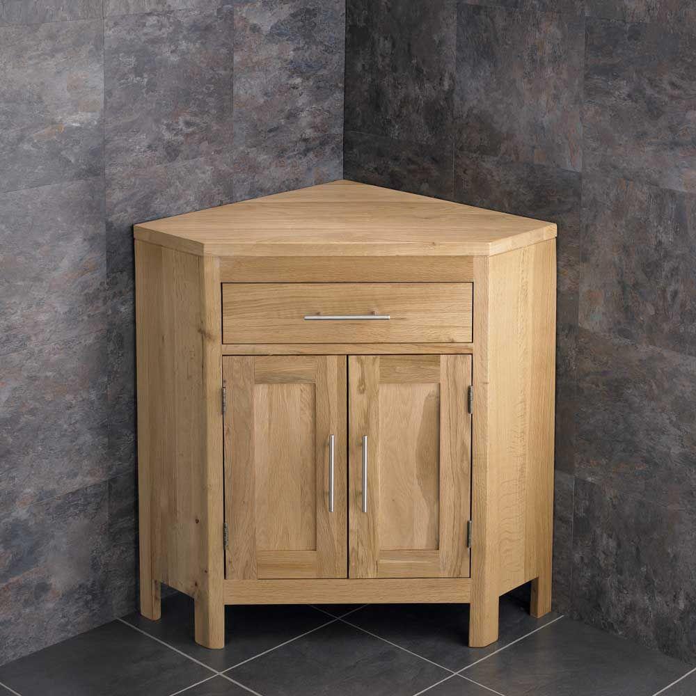 Alta Natural Solid Oak Large Two Door Vanity Corner Bathroom Cabinet