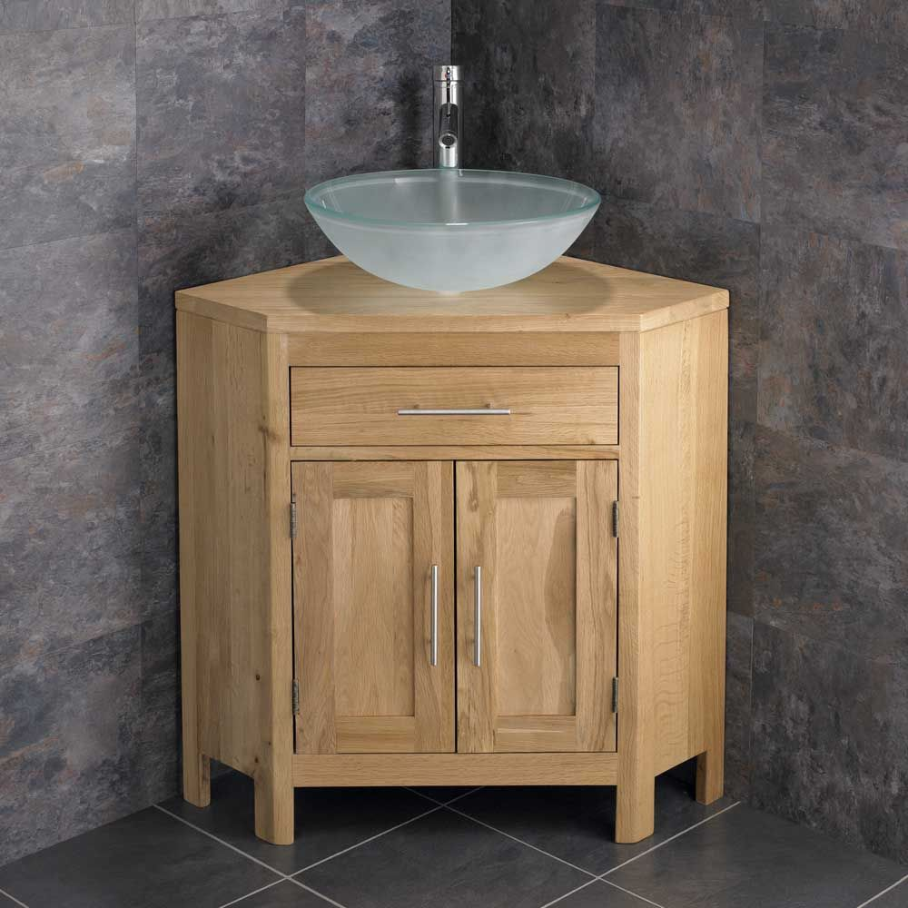 420mm frosted glass basin alta two door oak corner 14252