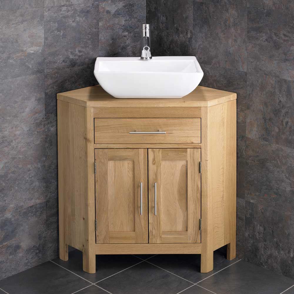 Alta Corner Oak Double Door Bathroom Vanity Unit And 450mm