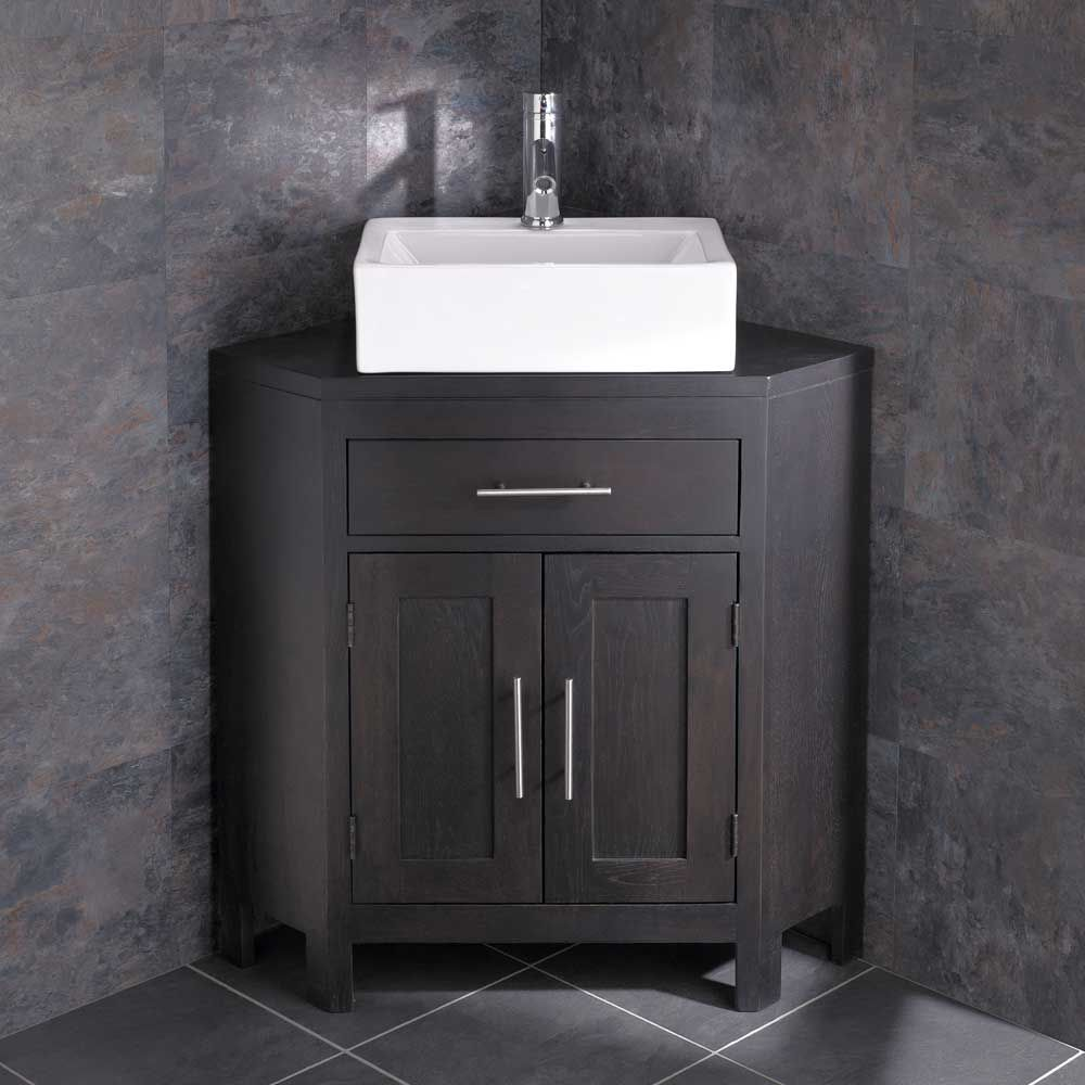 Barletta Sink + Alta Large Two Door Wenge Oak Corner Vanity Cabinet