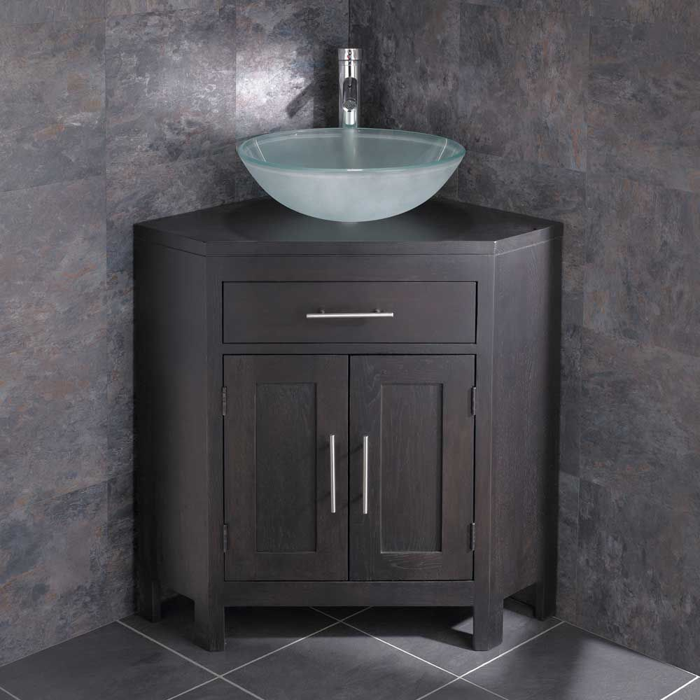 Alta Bathroom Corner Cabinet In Wenge Oak With Round 420mm
