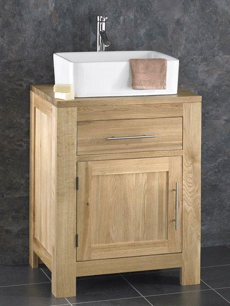 Solid Oak Alta 60cm Wide Single Door Cabinet With Basin Set Choice