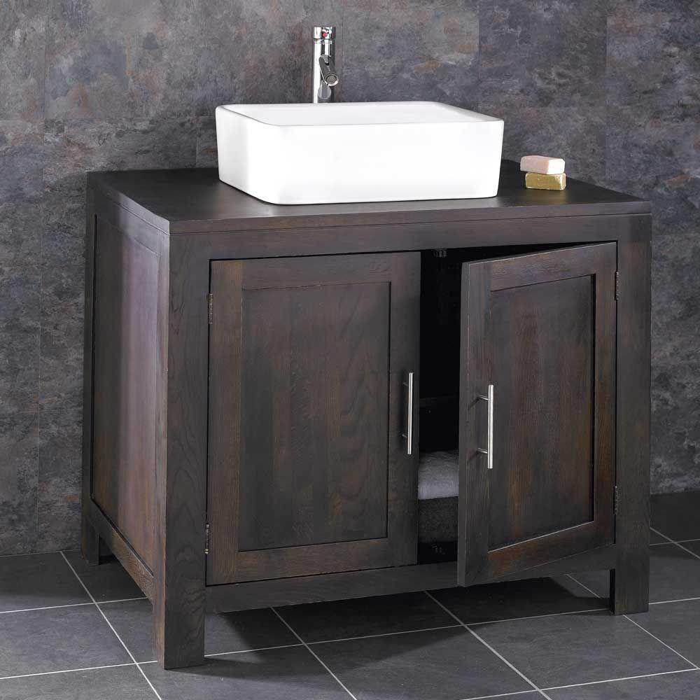 Alta Solid Wenge Oak Double Door Bathroom Vanity Unit