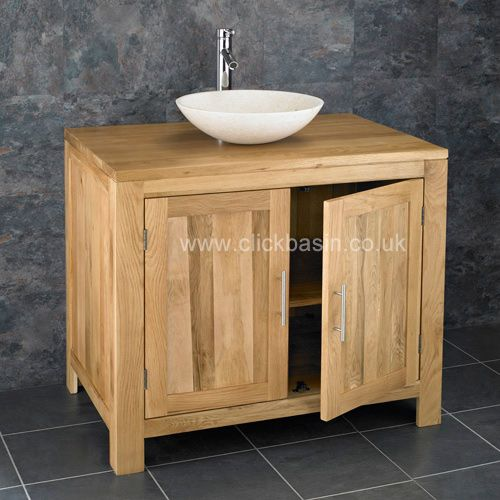 Two Door 900mm Alta Solid Oak Bathroom Cabinet Galala Stone Bowl Sink