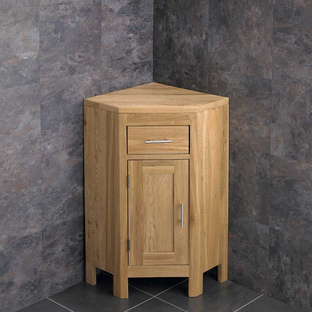 Alta One Door Natural Oak Corner Vanity Storage Cabinet ...
