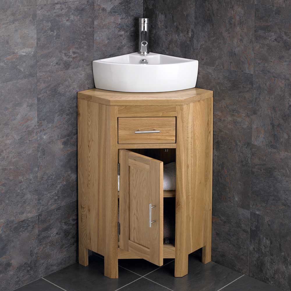 Alta Solid Oak Single Door Vanity Storage Cabinet + Olbia Corner Basin