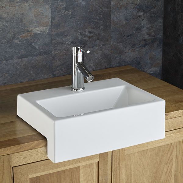 Anadia Rectangular Semi Recessed Sink Bathroom Sink