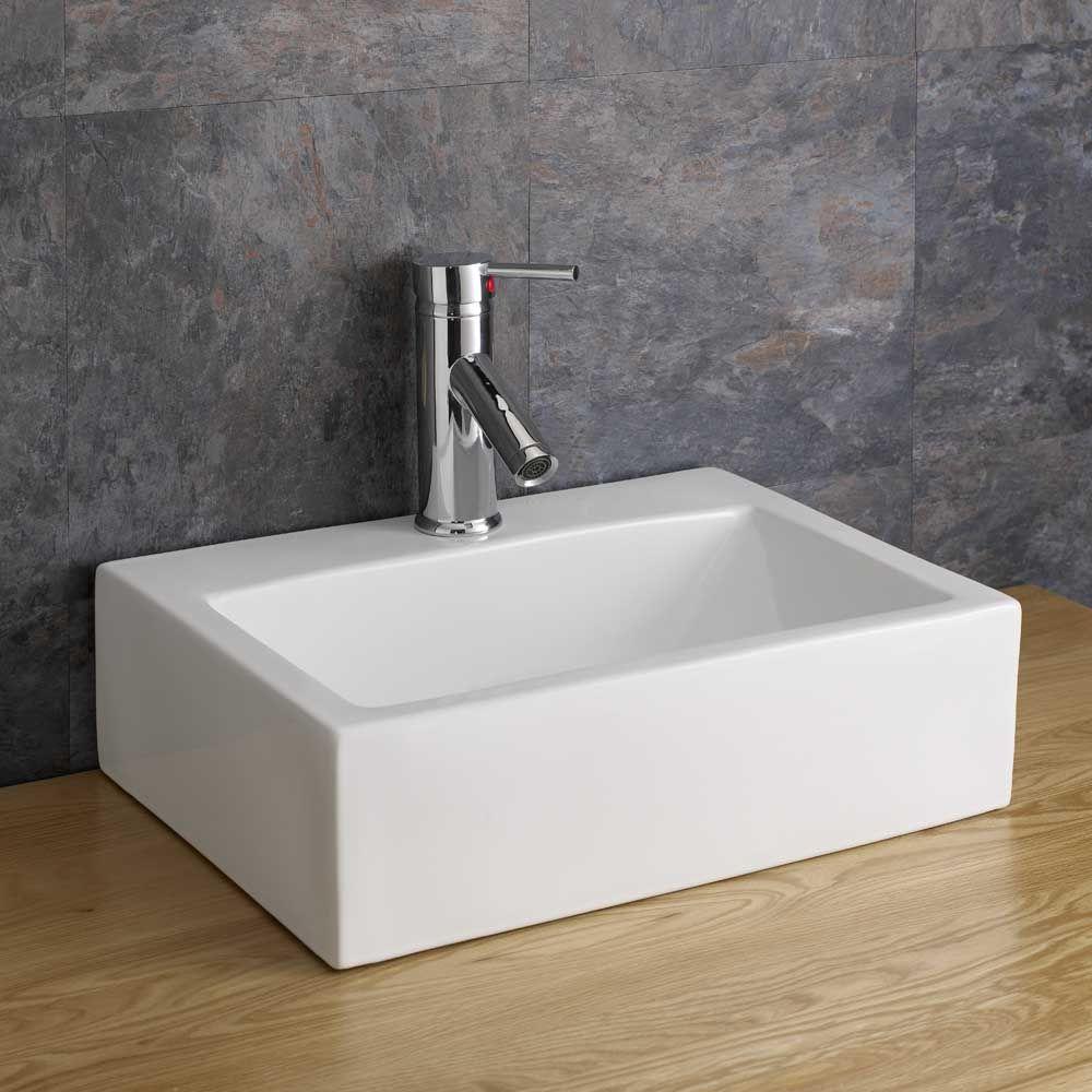 Sink Counter: 430mm Barletta Countertop Rectangular Bathroom Basin