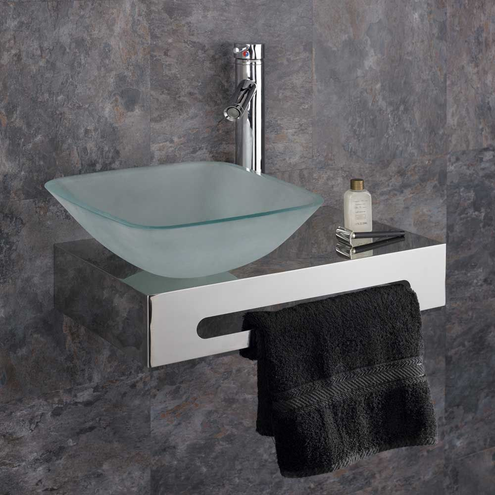 Casoria 310mm Frosted Glass Square Bathroom Basin Wall Mounted Set