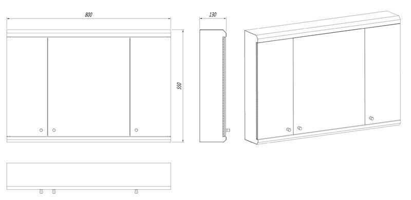 Stainless Steel Bathroom Corner Wall Mirror Cabinet Mc101: 800mm Wide Triple Door Large Biscay Wall Mount Mirror