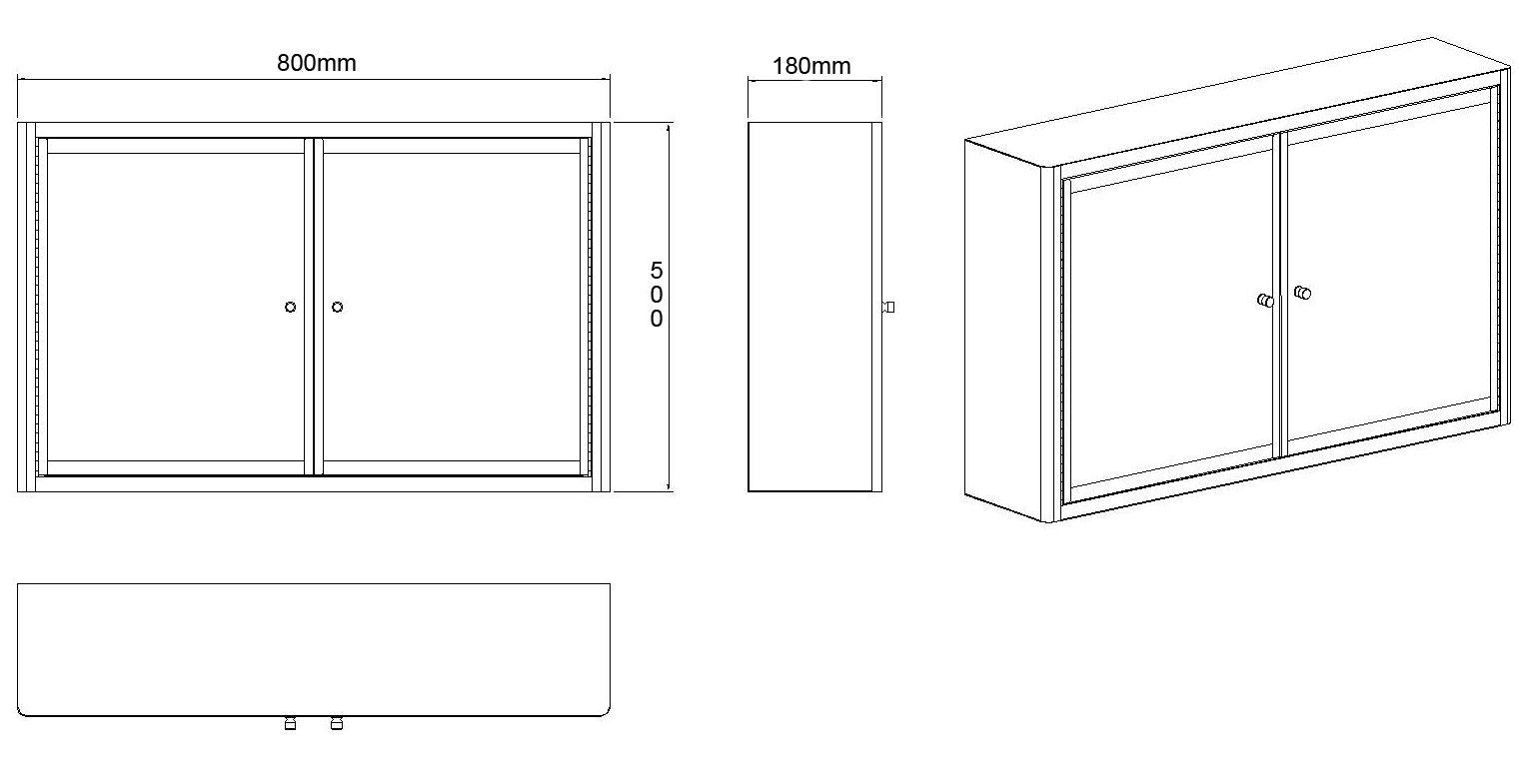 Large 80cm Wide By 50cm Tall Nancy Mirror Double Door Bathroom Cabinet