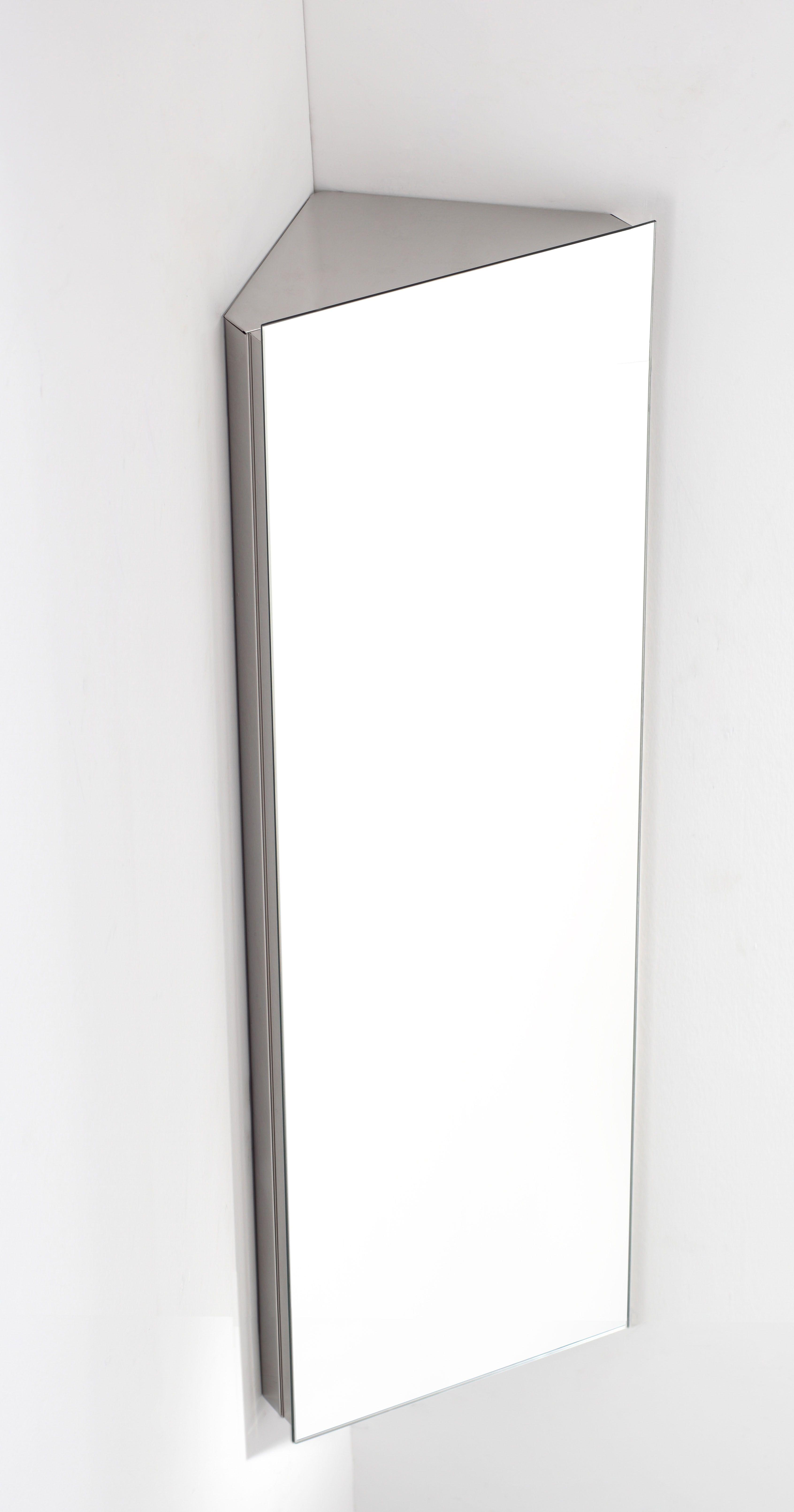 Reims Single Door Corner Mirrored Bathroom Cabinet
