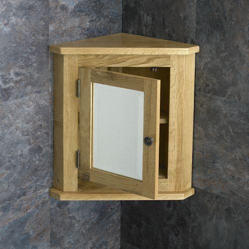 Solid Natural Oak Wall Mounted 450mm Tall Corner Bathroom Mirror Cabinet