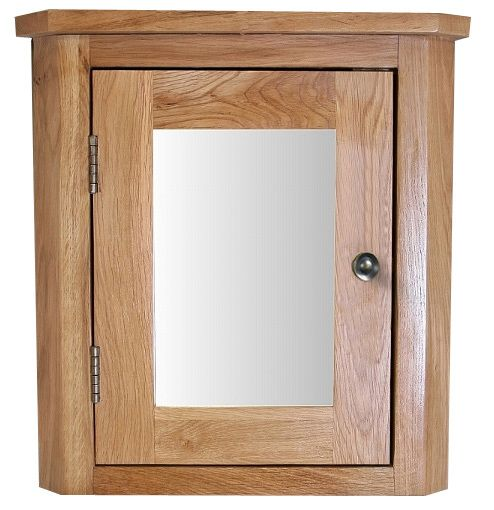 Solid Natural Oak Wall Mounted 450mm Tall Corner Bathroom Mirror Cabinet