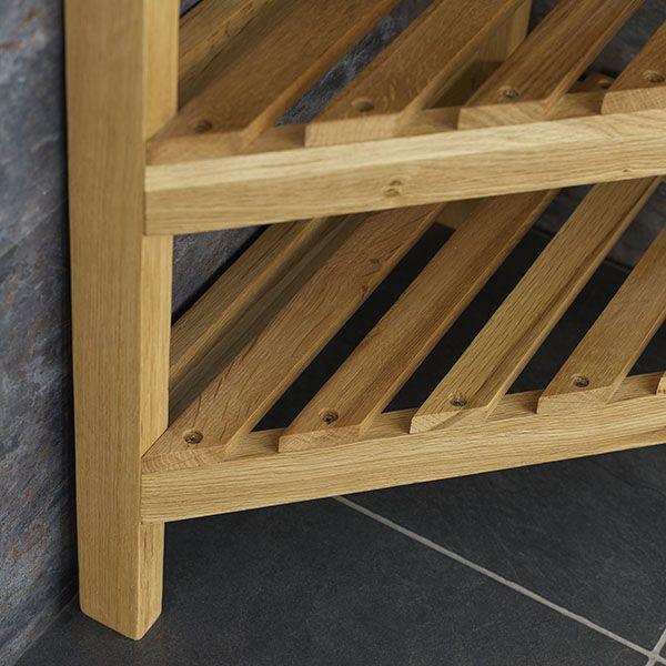 Solid Oak 60cm Tall Slatted Corner Shelving Storage Unit