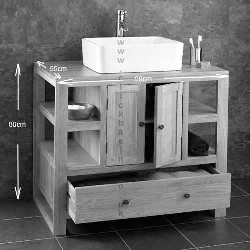 Solid Oak Stylish Double Cabinet With Basin Set Choice