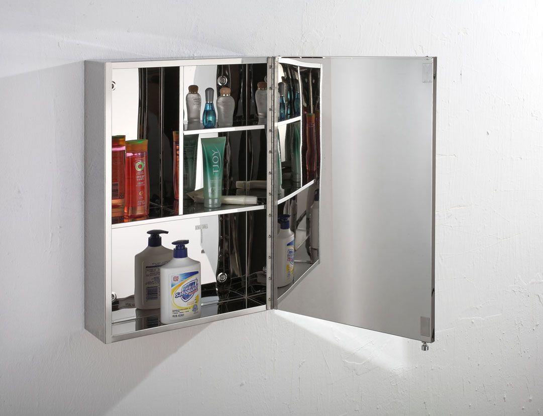 Stainless Steel Bathroom Corner Wall Mirror Cabinet Mc101: Almeria Single Door 400mm Wide X 600mm Tall Mirror