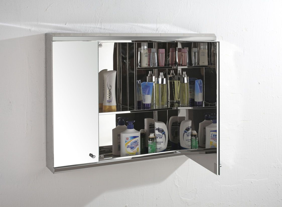 120cm Wide Triple Door Biscay Mirror Bathroom Wall Cabinet ...