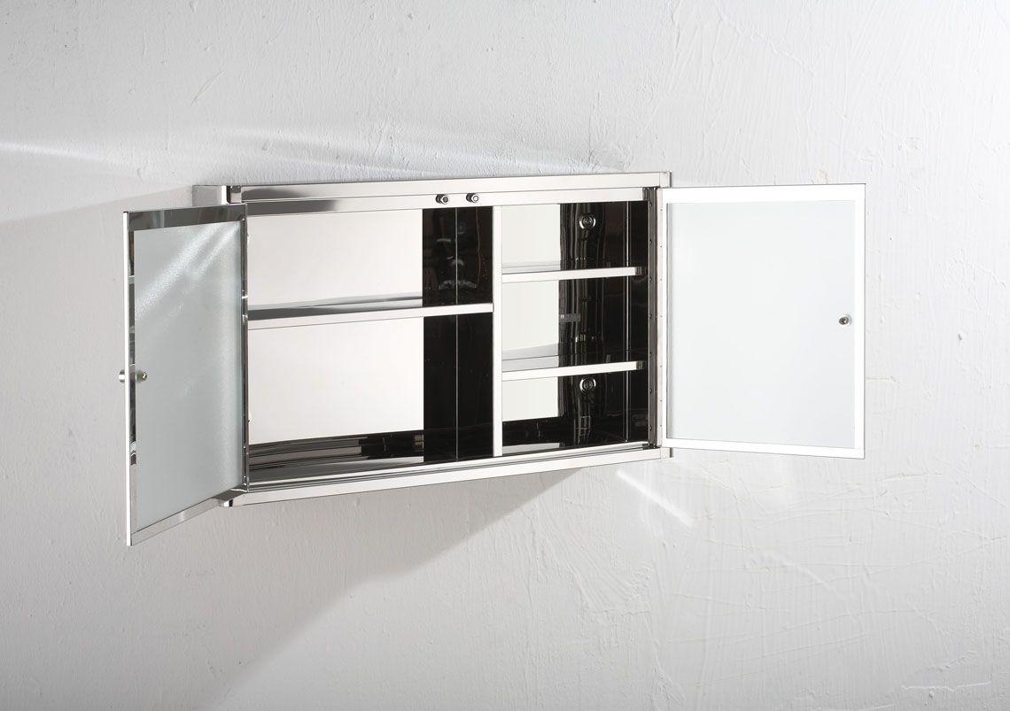 Stainless Steel Bathroom Corner Wall Mirror Cabinet Mc101: Large 80cm Wide By 50cm Tall Nancy Mirror Double Door