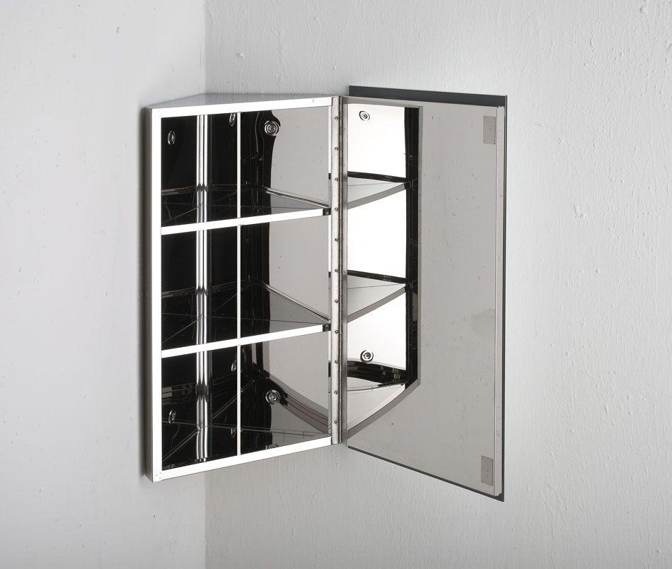 Best Of Corner Mirrored Bathroom Cabinets: Reims Corner Mirrored Bathroom Cabinet With Single Door