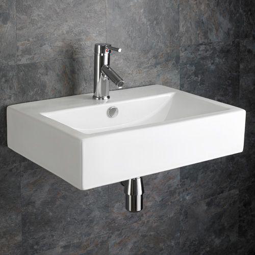 Large 550mm X 400mm Wall Mounted Rectangular Lamezia Bathroom Basin