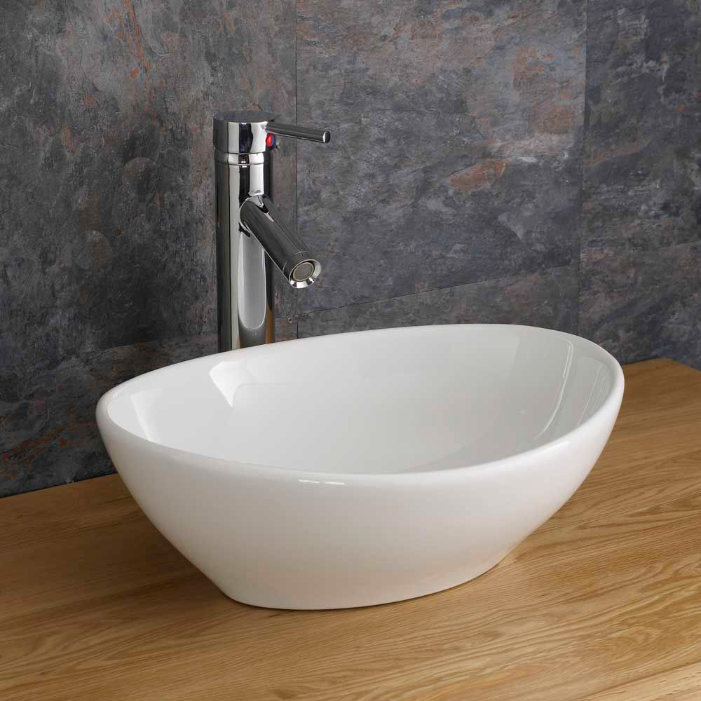 Counter Top Sinks: Oval 400mm X 340mm Messina Counter Or Cabinet Top Basin