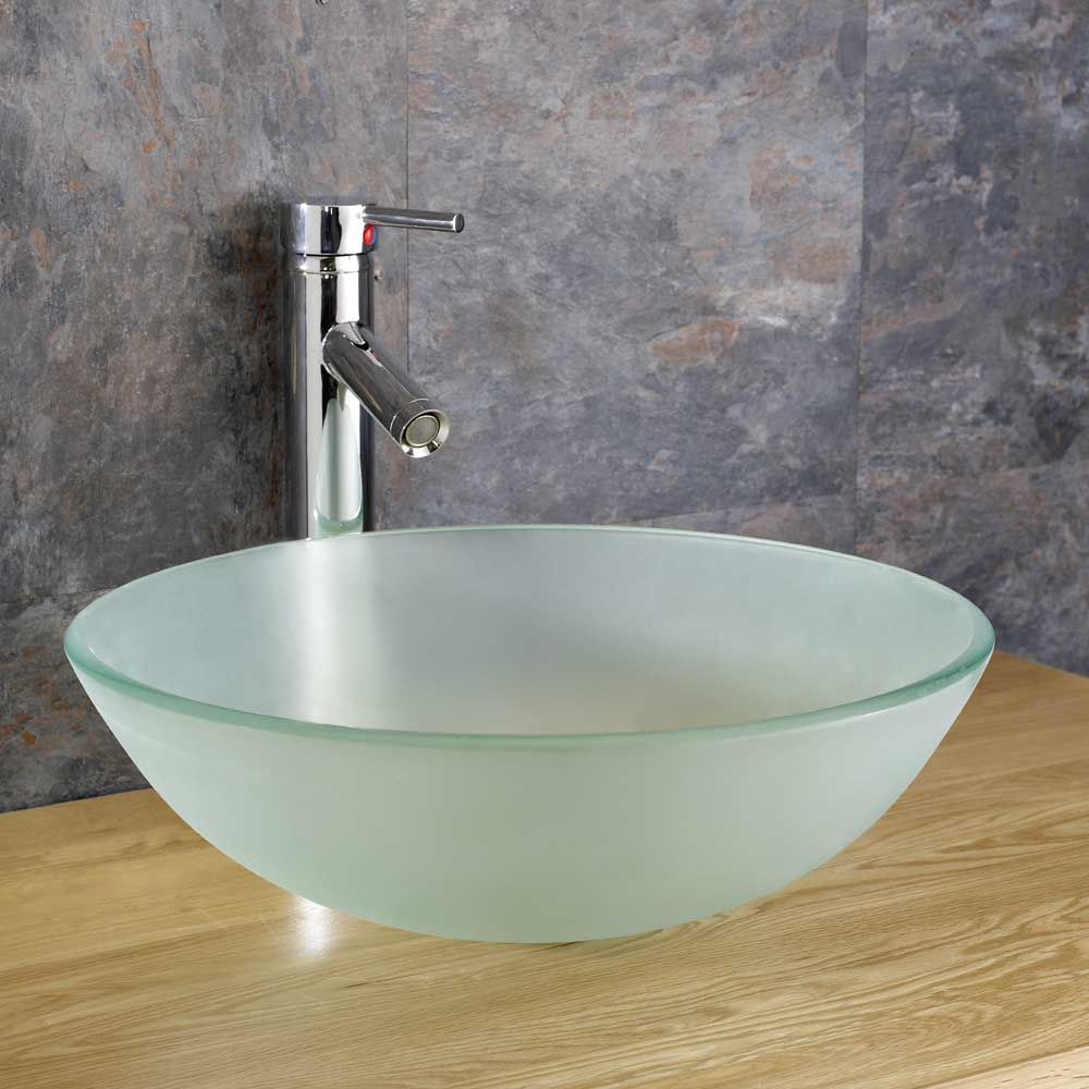 Counter Top Sinks: Monza 310mm Frosted Glass Countertop Sink Bathroom Basin