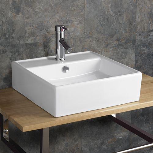 460mm Napoli White Counter Or Mounted Square Bathroom Sink