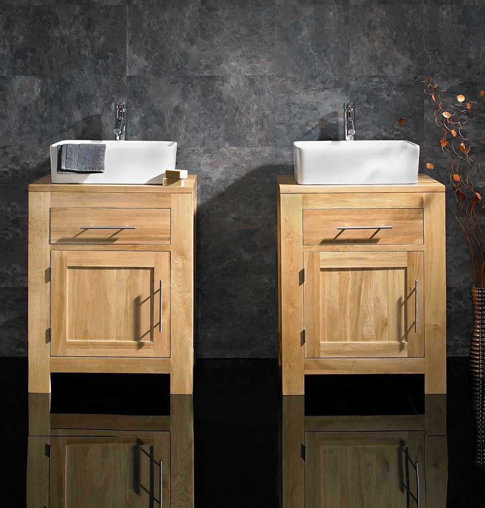 Solid Oak Alta 60cm Wide Single Door Cabinet With Basin