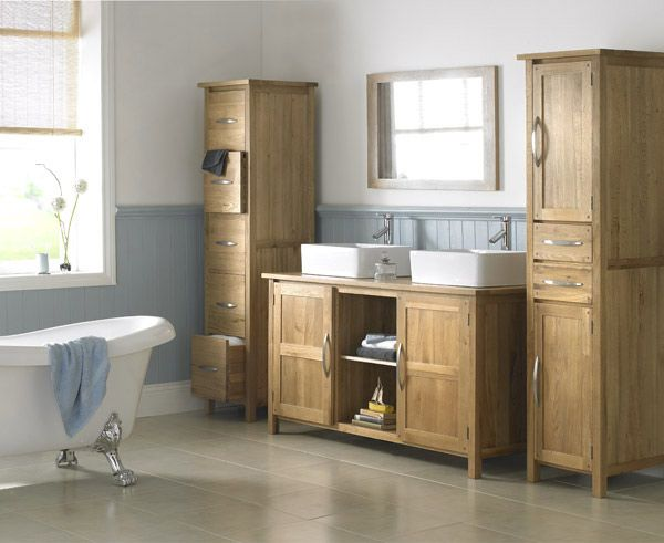 Solid Oak Double Basin Bathroom Cabinet With Tap Waste