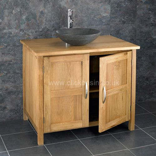 Two Door Ohio 900mm Wide Solid Oak Bathroom Vanity Black Stone Sink