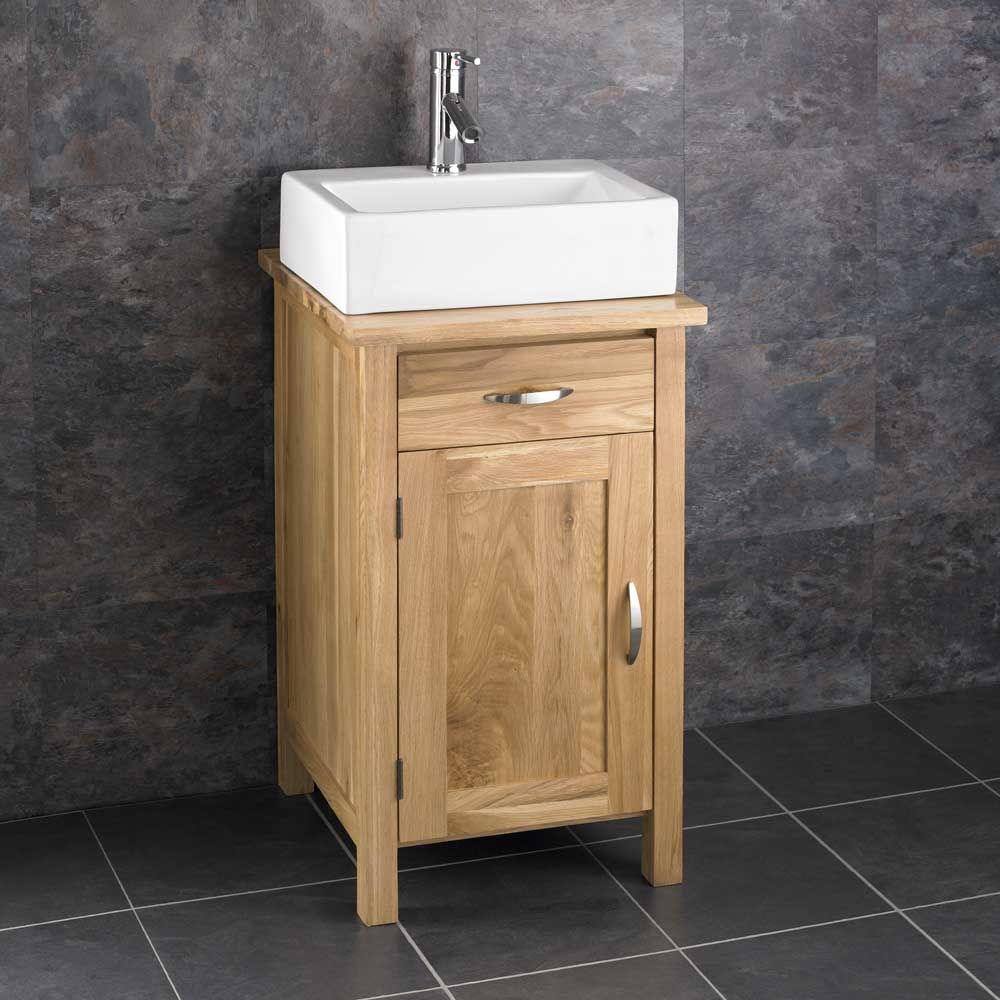 Ohio 450mm Square Oak Vanity Unit + Barletta Bathroom Rectangular Basin