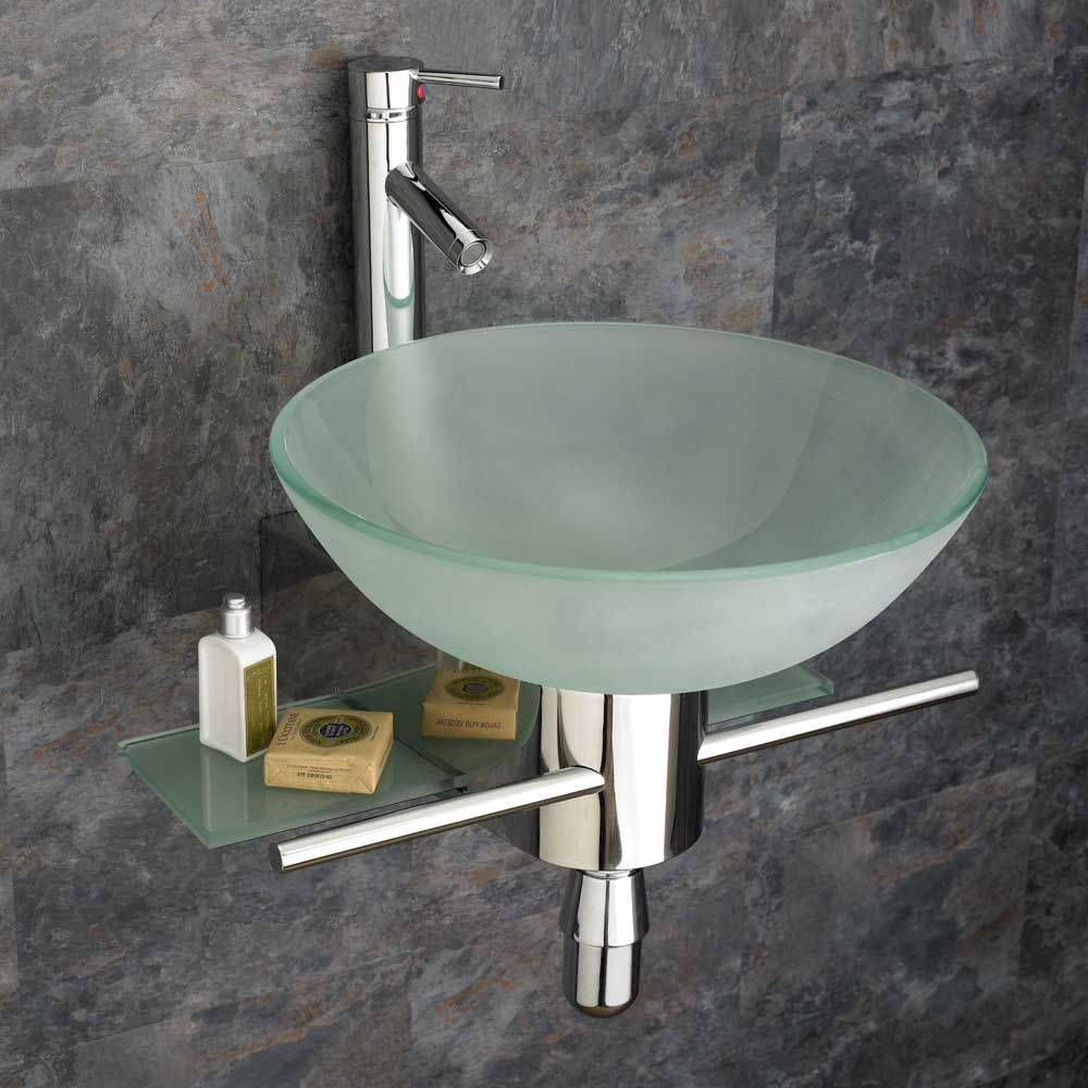 Frosted 420mm Round Glass Bathoom Basin Space Saving Wall