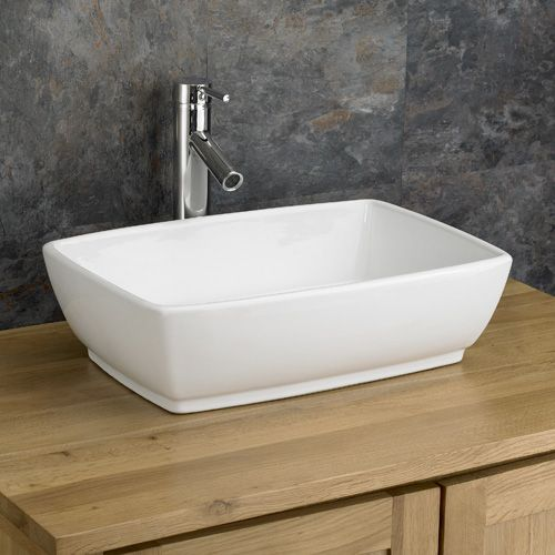 Cool Large White Rectangular Bathroom Countertop Basin 480Mm X 350Mm Palermo Download Free Architecture Designs Viewormadebymaigaardcom