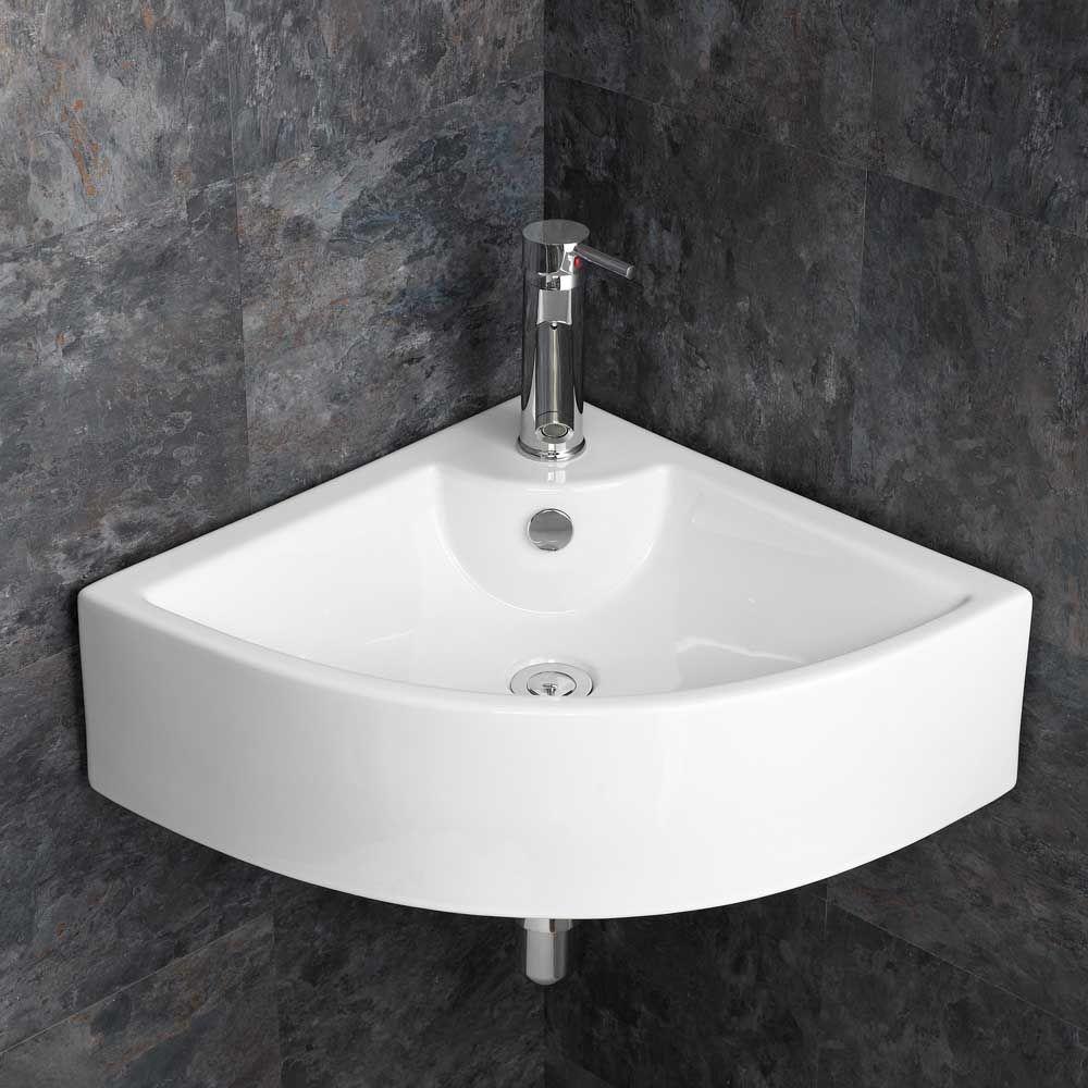 Modern Large 660mm Prato Corner Bathroom Wash Basin Wall