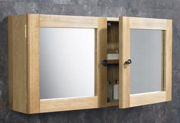 Large Oak Double Door Mirror Bathroom Wall Cabinet 750mm
