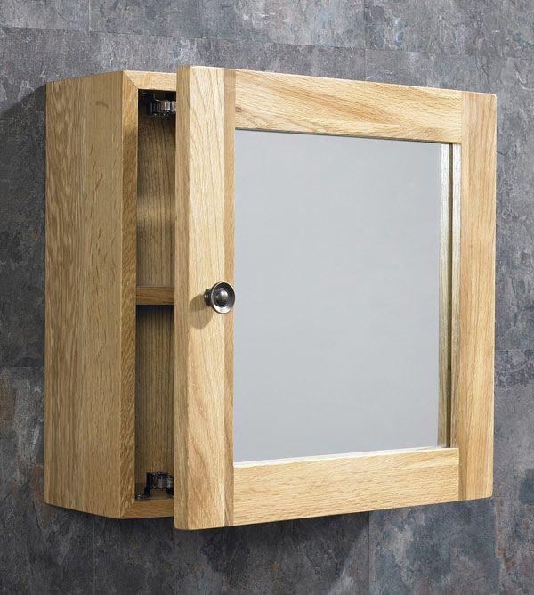 380mm Solid Oak Bathroom Wall Hung, Oak Framed Bathroom Mirror With Shelf