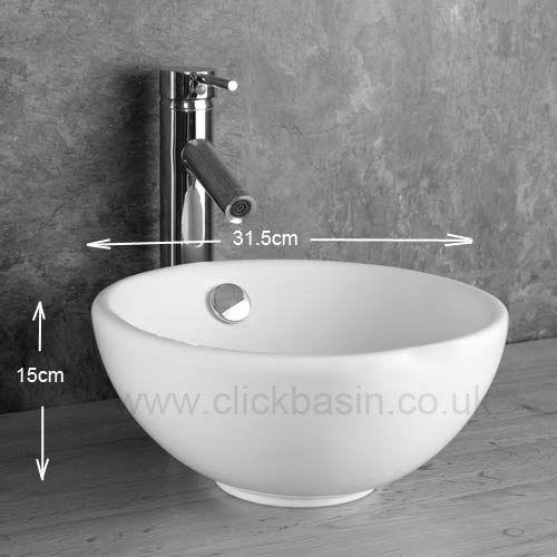 450mm Square Black Shelf With 300mm Stabia Round Bathroom