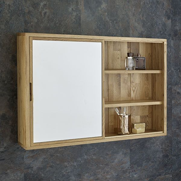 Sliding Door 80cm Wide Solid Oak Mirror Bathroom Cabinet