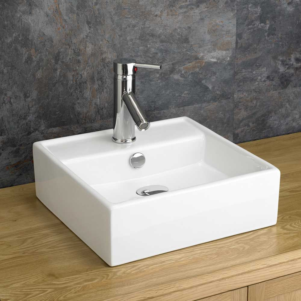 Counter Top Sinks: Tivoli 380mm X 380mm White Square Bathroom CounterTop Sink