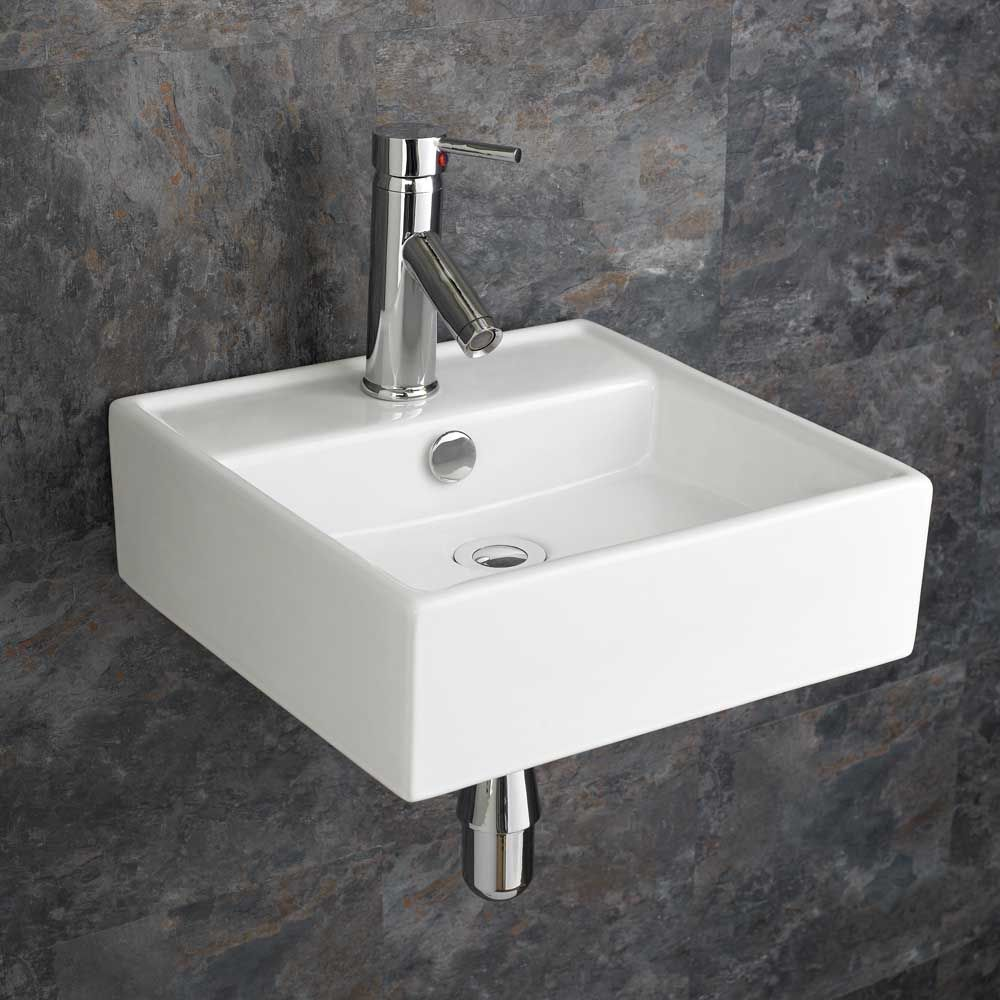 Tivoli Modern 380mm Square Ceramic Bathroom Basin Sink