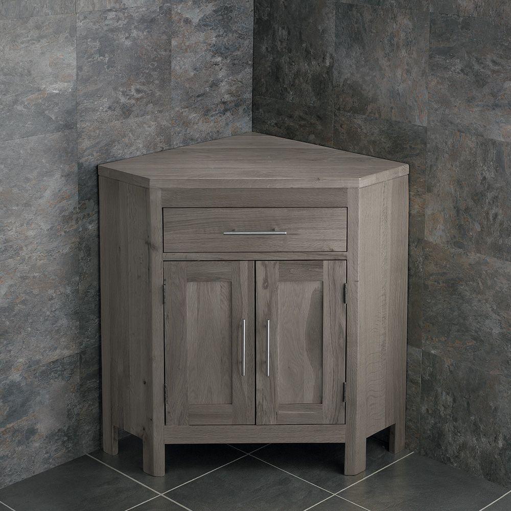 Large Bathroom Grey Wash Solid Oak Corner Bathroom Vanity
